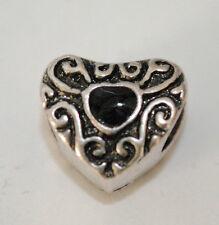 European Style Charm Bead  - silver black  heart  - Buy 15 get a FREE BRACELET !