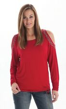 Women's Cowgirl Tuff Red Open Shoulder Shirt, Style F00276