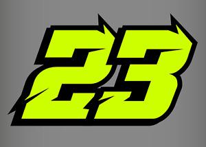 3 X Fluorescent Yellow Custom Racing Numbers - Vinyl Stickers / Decals