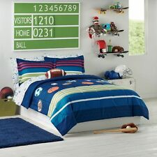 Sports Football Basketball Baseball Boys Full Comforter Set (7 Piece Bed In Bag)