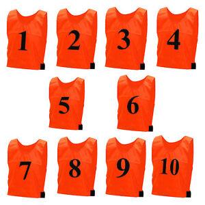10 x FOOTBALL School TRAINING SPORTS BIBS Adults Kids NUMBERED Vest Team Shirts