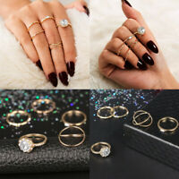 5Pcs/ Set Gold Women Midi Finger Ring Vintage Punk Boho Knuckle Rings Jewelry