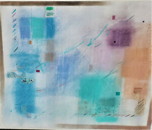 SHERRY SCHRUT Big Mixed-Media PAINTING w/Collage SIGNED Vintage JASPER JOHNS Mod