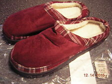 NIB New Men's Maroon/Red Slippers House shoes -Size 7 8 (L)- Indoor Outdoor sole