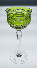 """Vintage Cut To Clear Hock Wine Glass 8"""" Chartreuse French Bohemian Stem France"""