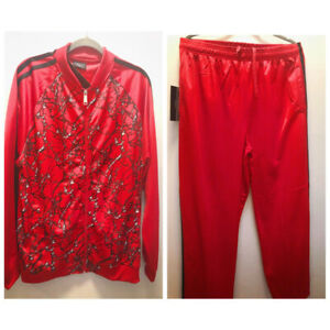 Trust Men's Red Printed Track Suit Jacket Pants