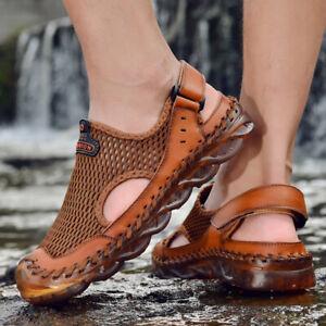 Summer Mesh Men Sandals Genuine Leather Shoes Beach Handmade Outdoor Slippers