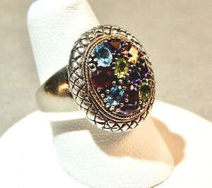 Samuel B. Benham 925 Sterling Silver/18K Gold Multi-Color Gemstone Ring (size 7)