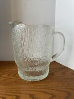 Vintage Large  Clear Glass Pitcher Textured with Ice Lip