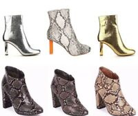 New Women Solid & Snakeskin Almond Toe High Heel Tailored  Boot Pump Shoes 5-10