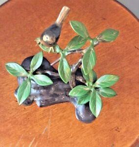 "Okimono Bird Tree Branch Bronze Enamel Centerpiece Sculpture Statue Japanese 10"""