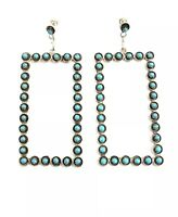 Native American sterling silver Zuni handmade Turquoise Dangle earring
