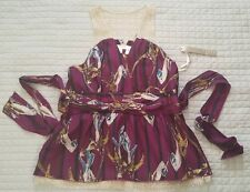 KENAR PLUM FLORAL WASHABLE SILK W/ GOLD NETTING EVENING HALTER TOP SZ L