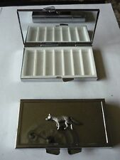 Fox codeppa23  Fine English Pewter On Mirrored 7 Day Pill box Compact