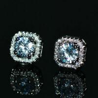 3Ct Round Cut Moissanite Push Back Halo Stud Earrings 14K White Gold Finish