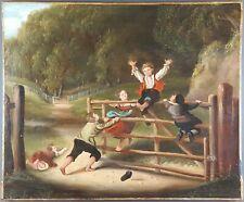 """Ancien Tableau """"Jeux d'Enfants"""" Peinture Huile Toile Antique Painting Dipinto"""
