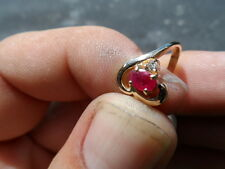 "14K. YELLOW GOLD ""HEART"" DESIGNED RING WITH RUBY AND DIAMOND"