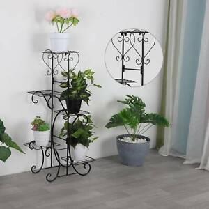 5 Tier Metal Flower Pot Holder Plant Stand Shelf Rack Planter Display Home Decor