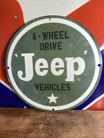"VINTAGE STYLE ""JEEP"" DEALER SIGN HEAVY PORCELAIN SIGN 12 INCH. 4 WHEEL DRIVE!"