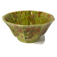 "Vintage Mid Century Art Pottery 5.5"" Bowl -Green Confetti Glaze -Signed RH 1970"