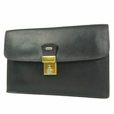 Auth BALLY Vintage Logos Leather Clutch Hand Bag Black F/S 41