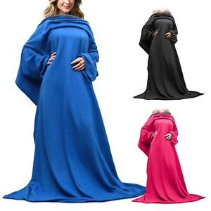 Sleeved Snuggie Fleece Blanket Snuggle Wrap Super Soft Red/Blue/Black