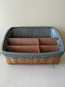 Longaberger Large Slanted Basket 2007 Office Desk Mail Organizer Liner & Fabric