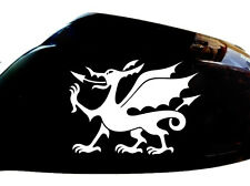 Cymru Welsh Dragon Car Sticker Wing Mirror Styling Decals (Set of 2), White