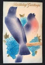 Antique Germany Embossed Postcard Purple Pink Bird Forget Me Not Flower Birthday