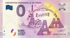 Billets Euro Schein Souvenir Touristique 2019 130 Ans Expo Universelle Paris