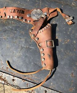 1950's Roy Rogers Single Leather Holster King of the Cowboys Emblem as found