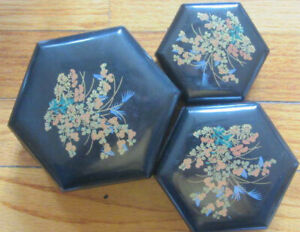 Vintage 3 Black Decorative Nesting Boxes with flower design