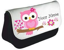Personalised girls ladies Cute Owl Pencil Case make up bag school xmas Birthday