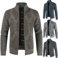 Fashion Men's Sweater Coat Thickening Warm Zipper Cardigan Long Sleeve Outerwear