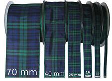Black Watch Tartan Ribbon - various widths, cut lengths and 25m reels