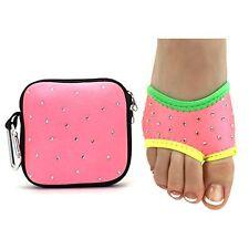 Neoprene Lyrical Half Sole Womens Girls Dance Shoes Matching Zippered Pouch M