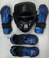 Used martial arts 3 piece set protection sparring gloves foot guards head gear