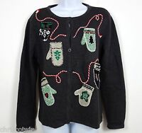 Charcoal Gray Mittens Button Up Cardigan UGLY CHRISTMAS SWEATER Women's MEDIUM