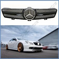 Painted Shiny Black Fin Front Mesh Grille 05-08 W219 BENZ CLS500 CLS550 CLS55AMG