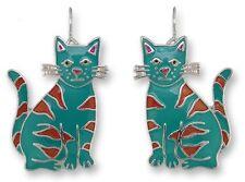 Calypso Cat Earrings,  Zarah, Hand Painted, cat gifts, Feline Fancier, Kitty Kat
