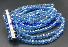 3x4mm Beautiful Blue AB Crystal Gemstone Faceted Beads 7 Row Bracelet 7.5''