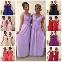 Chiffon A-Line Bridesmaid Wedding Dress Prom Maxi Ballgown V Neck Long Party Lot