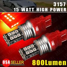 2 X 3157/3156 High Power 2538 Chip 15W Red LED Brake Tail Stop Light Bulbs