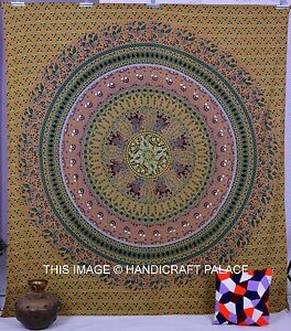 Indian Large Hippie Bohemian Elephant Mandala Print Queen Wall Hanging Tapestry