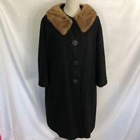 VINTAGE Bernhard Altmann Black Duster 100% Cashmere Coat XL Mink Fur Trim