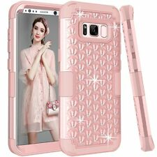 Samsung Galaxy S8 Plus case Rhinestone Bling Studded Resistant Cover- Rose Gold