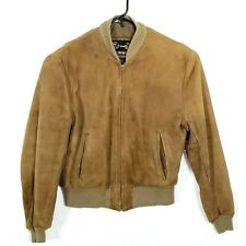 The Leather Shop Brown Leather Bomber Jacket Vtg Sears Mens Store Sz 42 Regular