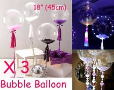 "Bubble Transparent Clear Round Balloon Large 18"" 45cm (x 3) Wedding Decoration"