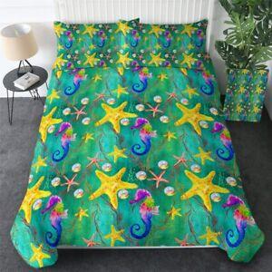 Seahorse Starfish Green Ocean King Queen Twin Quilt Duvet Pillow Cover Bed Set