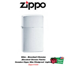 Zippo Brushed Chrome Finish Lighter, Slim, Genuine Windproof USA #1600